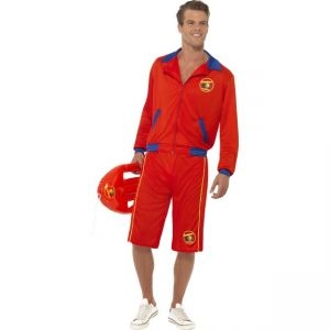 Baywatch Beach Men's Lifeguard Costume, With Jacket and Long Shorts