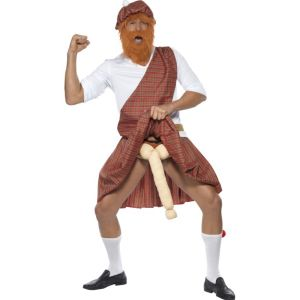20358 - Well Hung Highlander Costume, Red Tartan