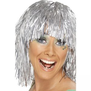 20877 - Cyber Tinsel Wig, Silver