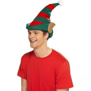 21469 - Elf Hat, Green With Red Stripes, With Ears