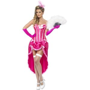 22187 - Burlesque Dancer Costume, Pink, With Adjustable Skirt And Bodice
