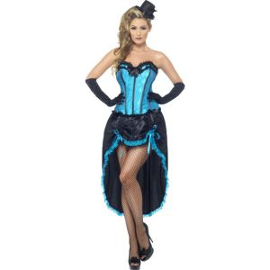 22188 - Burlesque Dancer Costume, Blue With Adjustable Skirt And Bodice