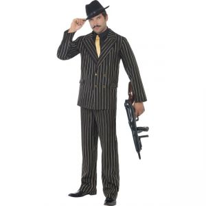 22414 - Gold Pinstripe Gangster Costume, With Jacket, Trousers, Shirt Frontand Tie
