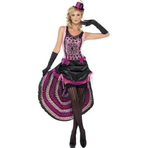 22425 - Burlesque Beauty Costume, Dress With Drawstring Skirt, Lace And Bow Detail211