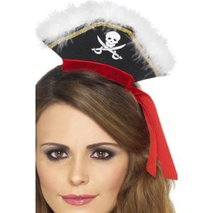 22524 - Mock Pirate Hat On Headband,Black