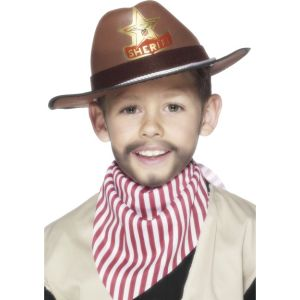 22535 - Cowoy Hat With Sheriff Badge, Brown