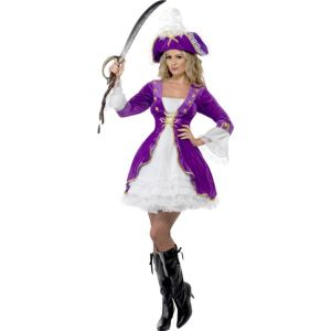 22643 - Purple Pirate Beauty Costume, With Dress And Hat