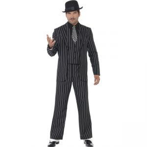 23042 - Vintage Gangster Boss Costume, With Jacket, Tie, Waistcoat And Mock Shirt, Trousers
