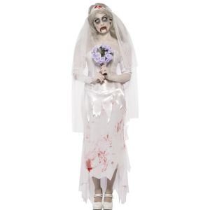 23295 - Ghost Bride Costume, With Dress, Veil And Bouquet