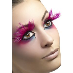 24254 - Eyelashes, Pink, With Feather Plumes, Contains Glue
