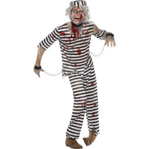 24347 - Zombie Convict Costume, With Top, Trousers, Hat And Chain Cuffs