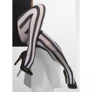 24549 - Opaque Tights, Striped, Black And White