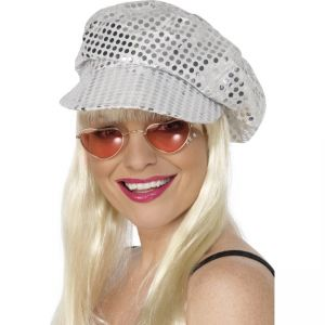 25522 - Disco Sequin Hat, Silver