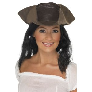 25530 - Leather Look Pirate Hat, Brown