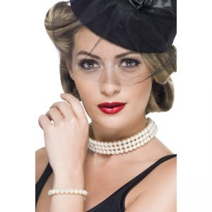 25653 - Vintage Faux Pearl Set, With Bracelet And Choker