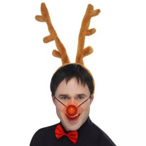 25718 - Reindeer Set, Brown, Includes Horns, Flashing Nose And Bow Tie