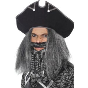 26227 - Terror Of The Sea Pirate, Hat, Black, With Rope Detail, On Display Card