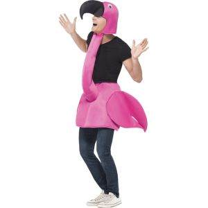 26392 - Flamingo Costume, Pink, One Piece Padded Body With Attached Neck & Hood