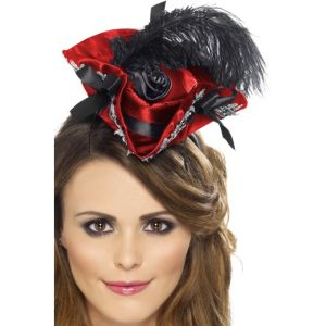 27326 - Miniature Pirate Hat On Headband,Red