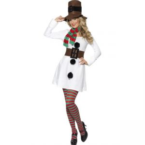 28016 - Miss Snowman Costume, White And Black