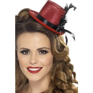 28433 - Mini Tophat, Red With Black Ribbon And Feathe