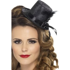 28447 - Mini Tophat, Black With Ribbon And Feather