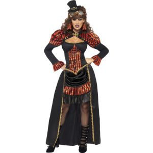 28730 - Steam Punk Victorian Vampiress Costume, Dress With Collar And Train And Badge