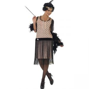 28820 - 1920\'S Coco Flapper Costume, Dress With Brooch, Cigarette Holder, Pearl Necklace And Headpiece With Brooch And Feather