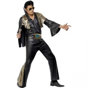 29150 - Elvis Black And Gold Costume, With Shirt, Trousers, Cape And Belt