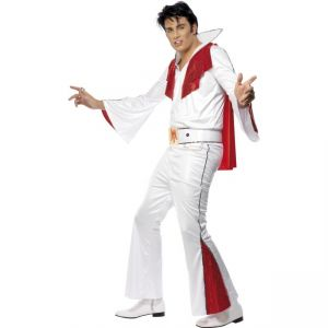 29151 - Elvis Costume, White, With Shirt, Trousers, Cape And Belt
