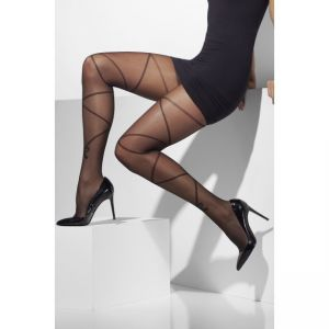 29621 - Sheer Tights, With Cross And Bow Print, Black