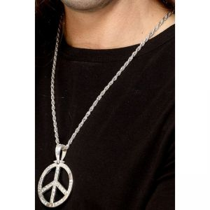 29899 - 60S Peace Sign Hippie Medallion, Silver