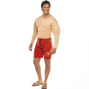 Baywatch Lifeguard Costume, Red, with Muscle Chest and Attached Shorts