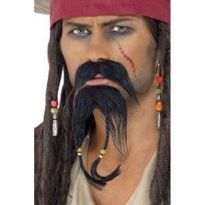 30123 - Pirate Facial Hair Set, Brown, Moustache And Beard