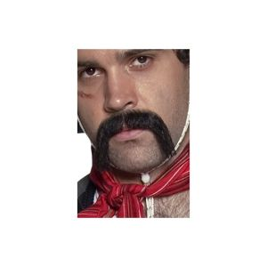 31130 - Authentic Western Mexican Handlebar Moustache, Black