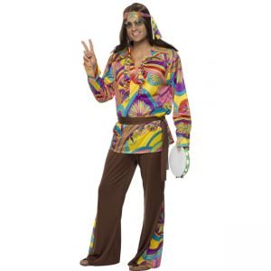 32032 - Psychedelic Hippie Man Costume, Multi-Coloured
