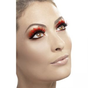 32285 - Eyelashes With Diamante, Red And Black, Contains Glue