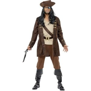 33432 - Buccaneer Costume, Brown, Coat, Shirt, Trousers And Hat