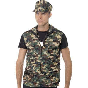 33555 - Army Guy Instant Kit, Waistcoat With Epaulettes, Cap And Dog Tags