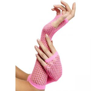 34876 - Fishnet Gloves Pink, Long