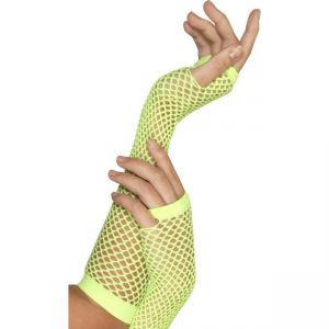 34880 - Fishnet Gloves Neon Green, Long
