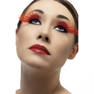 34989 - Eyelashes, Red, With Diamante, Long, Contains Glue