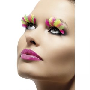34999 - Eyelashes, Multi-Coloured, Neon, Feather, Contains Glue