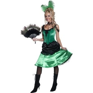 36158 - Authentic Western Saloon Girl Costume, Green And Black
