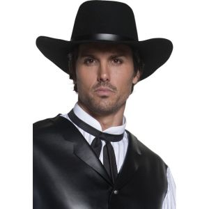 36338 - Authentic Western Gunslinger Hat, Black