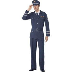 38830 - WW2 Air Force Captain Costume, Withtrousers, Jacket, Hat And Tie