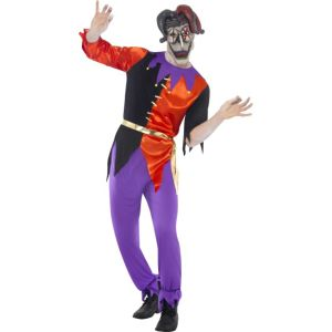 38866 - Twisted Jester Costume, With Top, Trousers And Mask