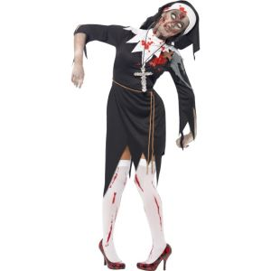 38877 - Zombie Nun Costume, Black, Dress With Latex Wound, Rope Belt And Headpiece