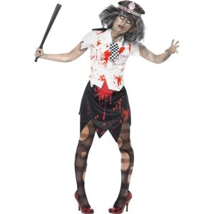 38881 - Zombie Policewoman Costume, With Skirt, Shirt With Tie And Hat
