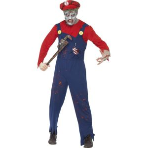 40057 - Zombie Plumber Costume, Red, With Top, Dungarees With Latex Ribcage And Hat